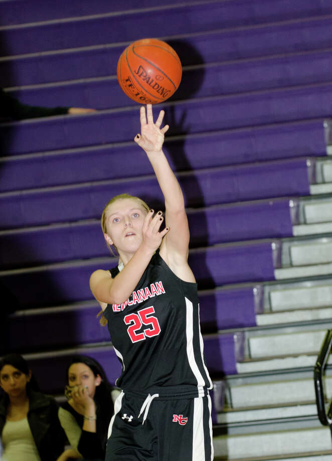 New Canaan's Kelly Armstrong (25) shoots during the girls basketball game against Westhill at Westhill High School in Stamford on Tuesday, Feb. 12, 2013. Photo: Amy Mortensen / Connecticut Post Freelance