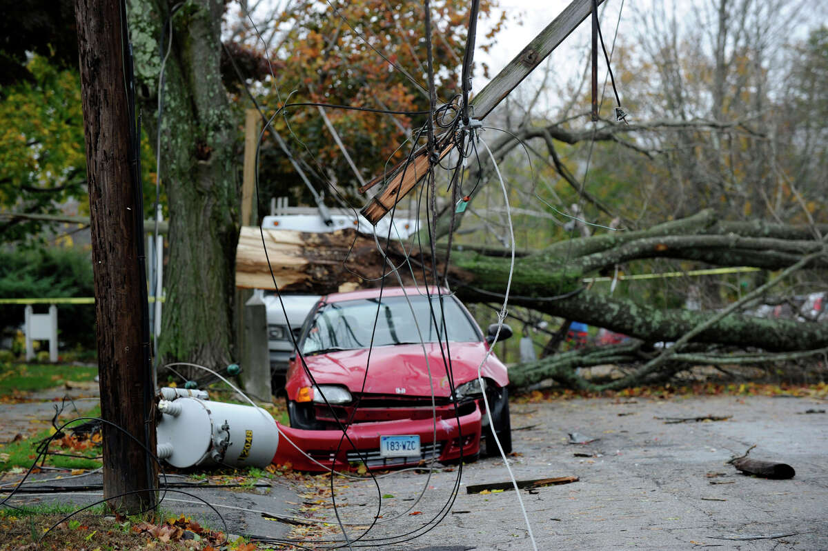 A transformer and large tree fell down on Farview Avenue in Danbury, Conn. Tuesday, Oct. 30, 2012, during Superstorm Sandy, Tuesday, Oct. 30, 2012.