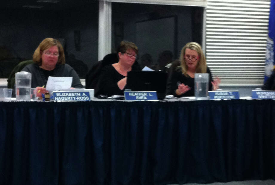 The Darien Board of Education approved a 4.05 percent increase over the 2012-13 budget at its meeting Tuesday, Feb. 12. From left, Darien Board of Education Chairman Elizabeth Hagerty-Ross, Heather Shea and Susan Perticone. Photo by Megan Spicer Photo: Megan Spicer