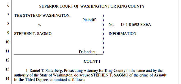 Stephen T. Sagmo, who authorities said is a risk to public safety because of his violent and erratic behavior, has been charged with smashing five windows of a Bartell Dugs and assaulting a police officer who arrested him. Photo: King County Superior Court