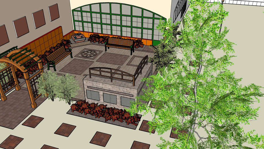 Rendering of the proposed East Greenbush Community Library outdoor space. (East Greenbush Library)