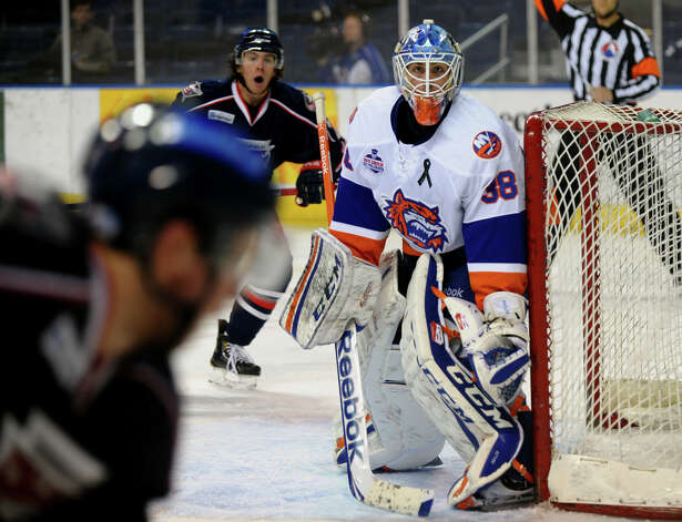 Sound Tigers goalie Kevin Poulin, during hockey action against Springfield at the Webster Bank Arena in Bridgeport, Conn. on Tuesday February 12, 2013. Photo: Christian Abraham / Connecticut Post