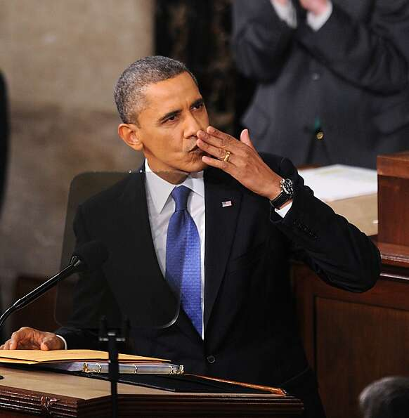 President Obama blows a kiss before the State of the Union speech, where he spoke with new vigor abo