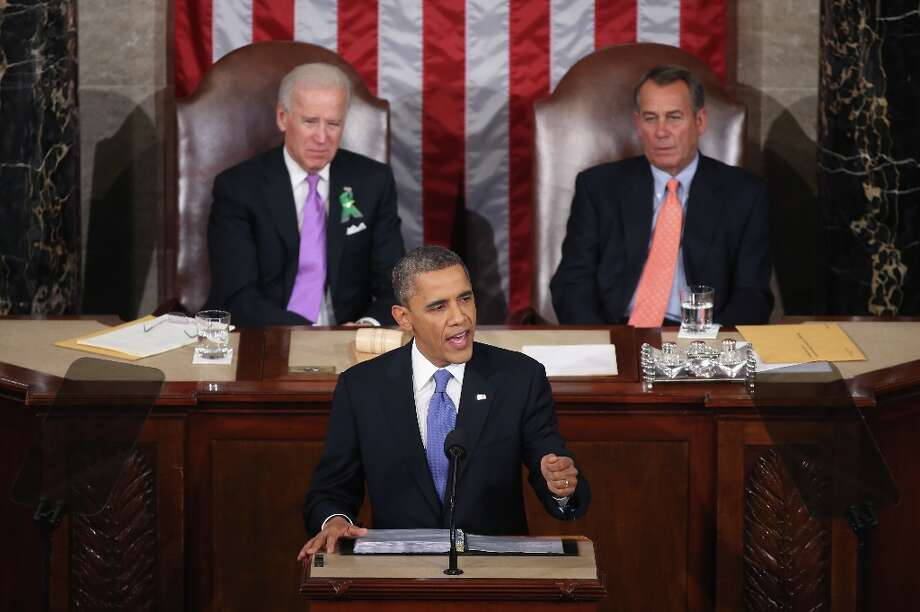 WASHINGTON, DC - FEBRUARY 12:  Flanked by U.S. Vice President Joe Biden (L) and Speaker of the House John Boehner (R), U.S. President Barack Obama (C) delivers his State of the Union speech before a joint session of Congress at the U.S. Capitol February 12, 2013 in Washington, DC. Facing a divided Congress, Obama concentrated his speech on new initiatives designed to stimulate the U.S. economy and said, It's not a bigger government we need, but a smarter government that sets priorities and invests in broad-based growth. Photo: Mark Wilson, Getty Images / 2013 Getty Images