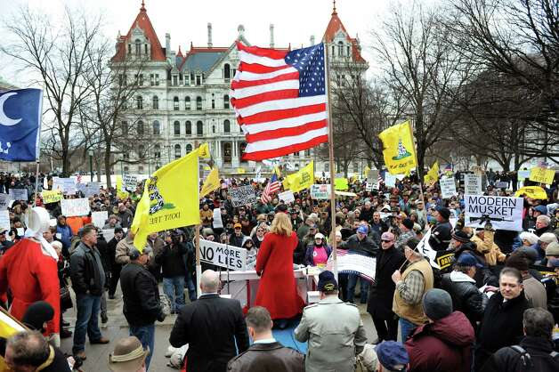 Second Amendment advocates rally against the SAFE Act on Tuesday, Feb. 12, 2013, at the Capitol in Albany', N.Y. (Cindy Schultz / Times Union) Photo: Cindy Schultz / 00021126A