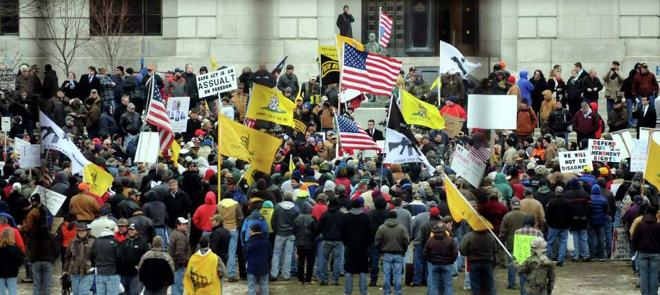 Second Amendment advocates rally against the SAFE Act on Tuesday, Feb. 12, 2013, at the Capitol in A