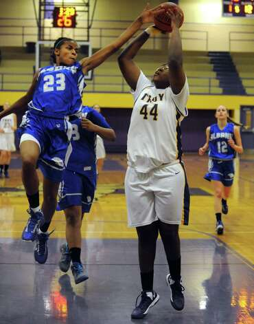 Troy's Cheyenne Williams goes in for a score during their game against Albany High on Tuesday Feb. 12, 2013 in Troy, N.Y. .(Michael P. Farrell/Times Union) Photo: Michael P. Farrell