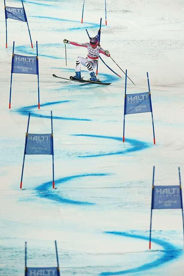 SCHLADMING, AUSTRIA - FEBRUARY 12:  Maria Hoefl-Riesch of Germany skis in the Men and Women's Nations Team Event during the Alpine FIS Ski World Championships on February 12, 2013 in Schladming, Austria.  (Photo by Clive Mason/Getty Images) *** BESTPIX *** Photo: Clive Mason, Getty Images