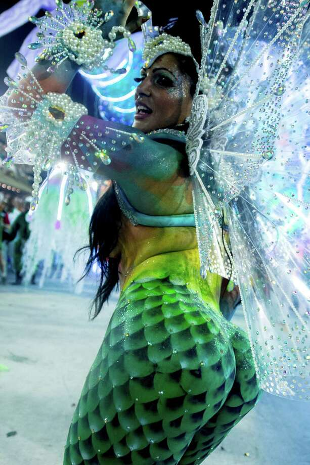 A dancer  of Academicos Do Grande Rio dressed up as a maermaid performs during the parade featured on the petroleum industry of Rio de Janeiro, at Sambodrome Marques de Sapucai on February 12, 2013 in Rio de Janeiro, Brazil. Photo: Getty