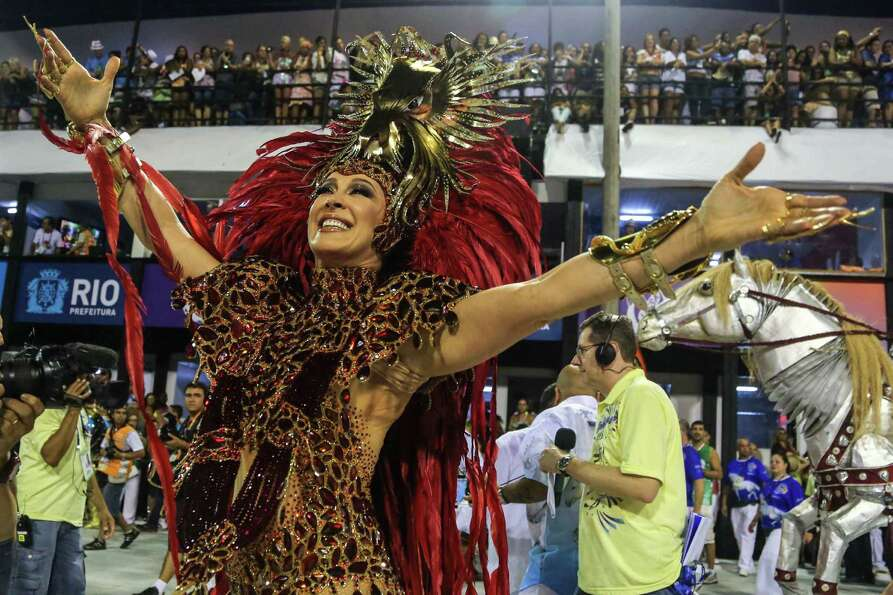 Claudia Raija of Beija Flor Samba School performs during Carnival 2013 at Sambodrome Sapucai on Febr