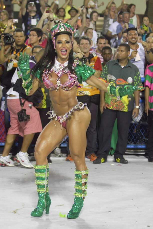 Model Gracyanne Barbosa, Queen of Percussion of Mangueira Samba School dances during the parade themed on Cuiaba, capital city of Mato Grosso at Sambodrome Sapucai as part of Carnival 2013 on February 11, 2013 in Rio de Janeiro, Brazil. Photo: Getty