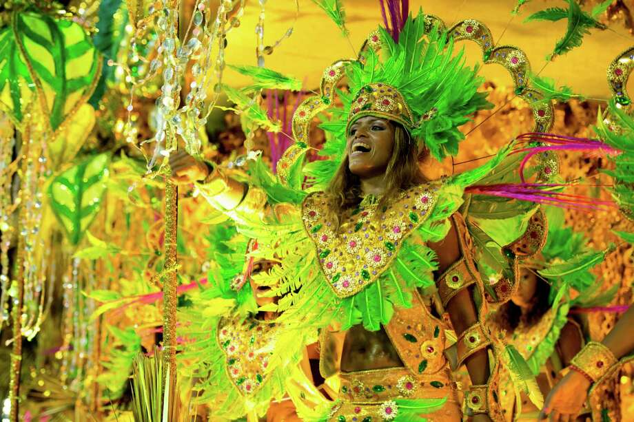 Members of Mangueira Samba School perform during the parade themed on Cuiaba, capital city of Mato Grosso at Sambodrome Sapucai as part of Carnival 2013 on February 11, 2013 in Rio de Janeiro, Brazil. Photo: Getty