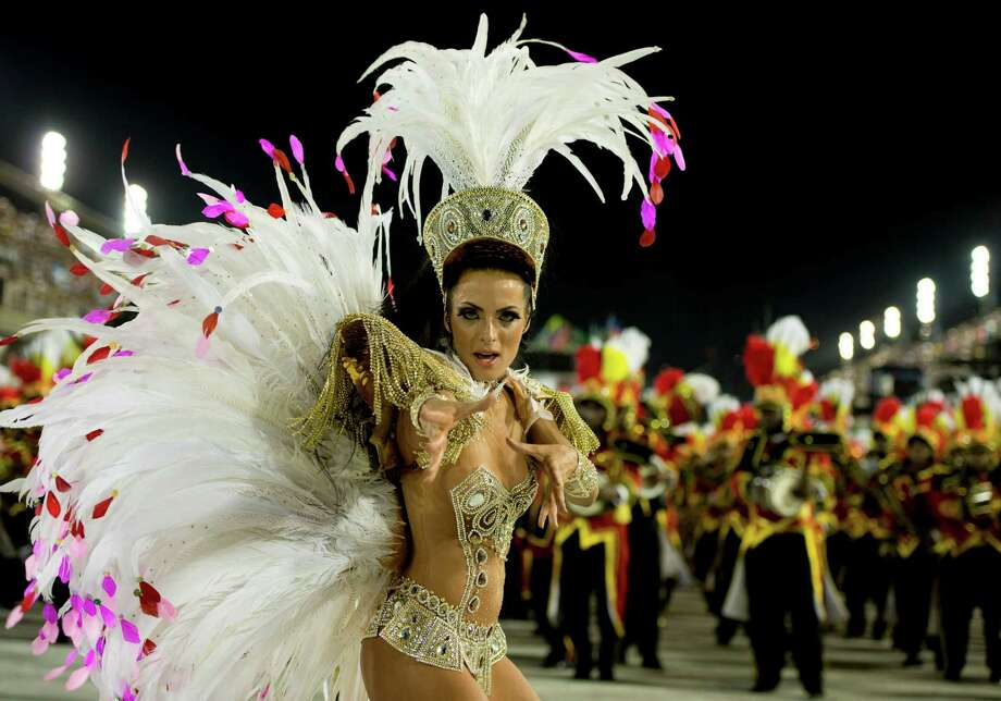 Members of Academicos Do Grande Rio during the parade featured on the petroleum industry of Rio de Janeiro, at Sambodrome Marques de Sapucai on February 12, 2013 in Rio de Janeiro, Brazil. Photo: Getty