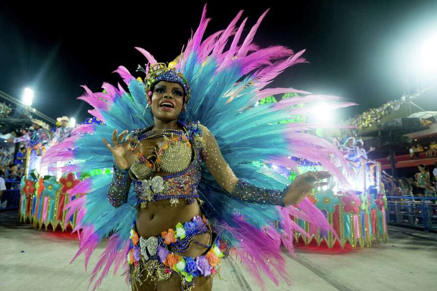 Dancers of Unidos de Vila Isabel during Carnival 2013 at Sambodrome Marques da Sapucai on February 1