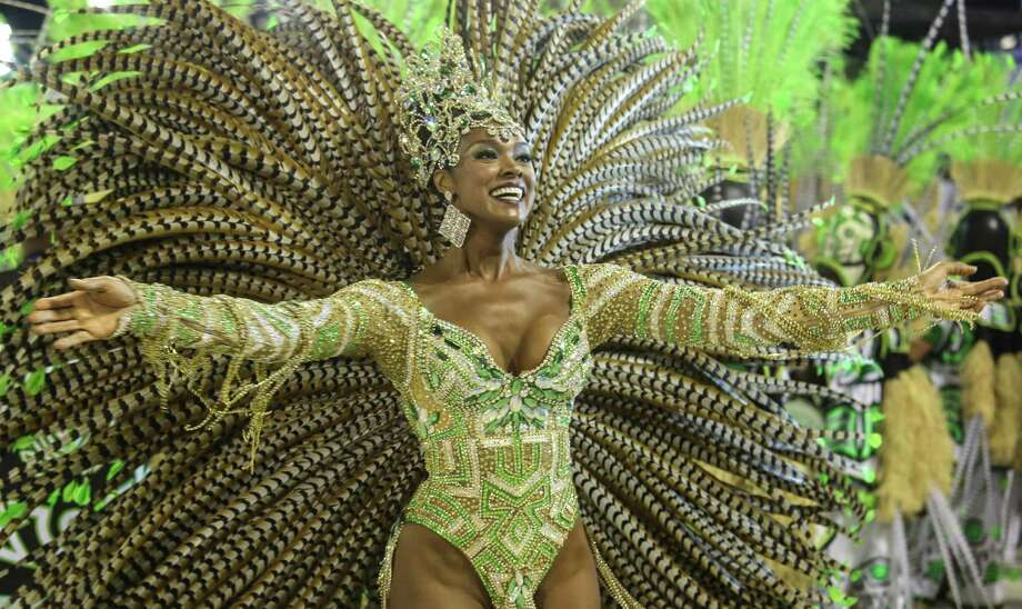 Dancers of Imperatriz School perform during the 2013 Brazilian Carnival at Sapuca Smbodrome on February 12, 2013 in Rio de Janeiro, Brazil.  Photo: Getty