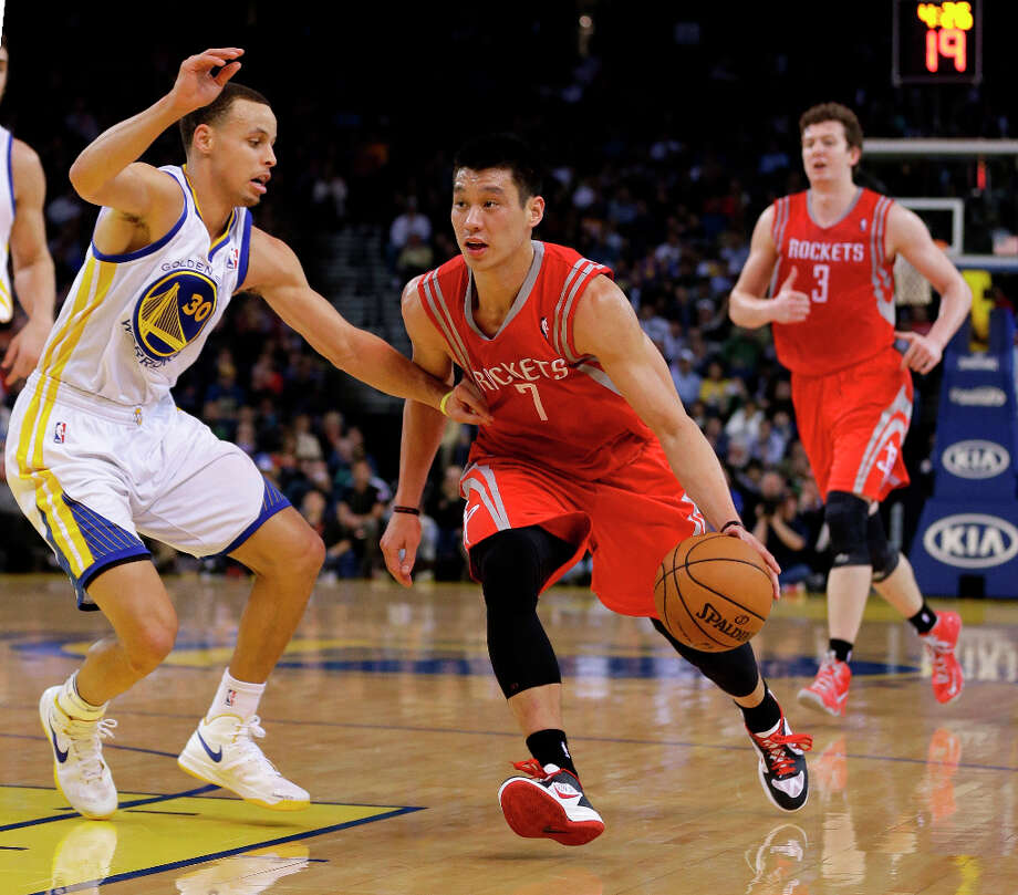 Feb. 12: Rockets 116, Warriors 107Rockets point guard Jeremy Lin tries to dribble past Warriors guard Stephen Curry. Photo: Marcio Jose Sanchez
