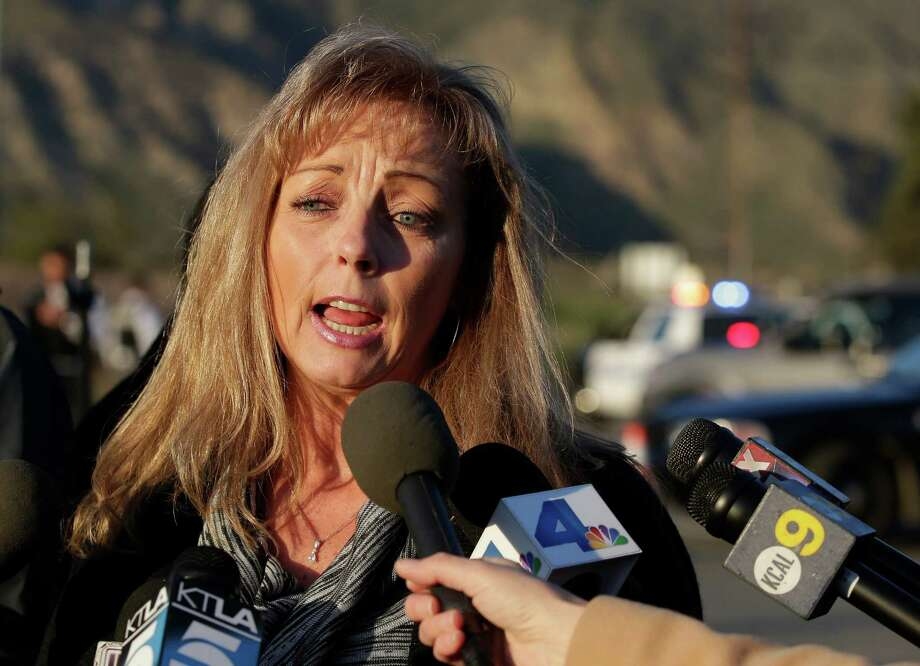 Cindy Bachman, Public Information officer for the San Bernardino County Sheriff's Department talks about the hunt for accused killer and fired Los Angeles police officer, Christopher Dorner in Yacaipa, Calif.,Tuesday, Feb. 12, 2013. Photo: Chris Carlson