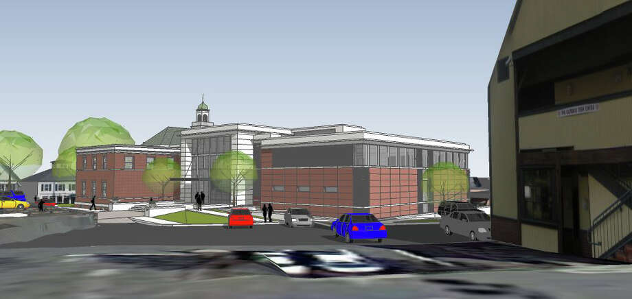 A 3D perspective of one of the possible designs for the new Town Hall as seen from the Teen Center. The image was part of the presentation delivered to the Town Hall Building Committee III on Feb. 12, 2013. Photo: Contributed