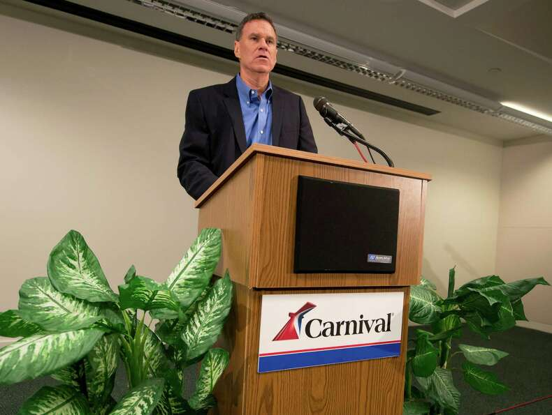 Gerry Cahill, president and CEO of Carnival Cruise Lines, addresses media representatives during a n