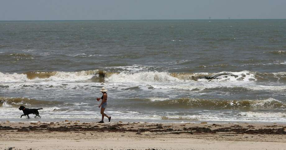 Paula Stephenson, of Jasper, Texas, walks her dog Rambo along the beach during her vacation on June 17, 2009, on Bolivar Peninsula. Photo: Julio Cortez / HC