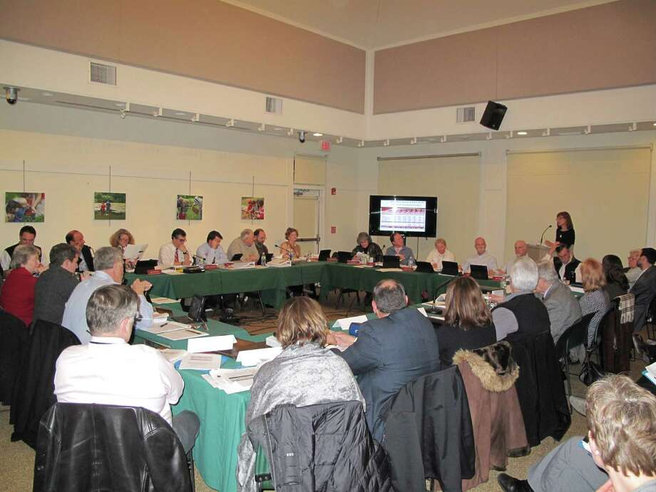 New Canaan Public Schools Superintendent Mary Kolek presents the Board of Education budget to the combined Board of Finance and Town Council at the Feb. 7 meeting at the New Canaan Nature Center. Photo: Tyler Woods