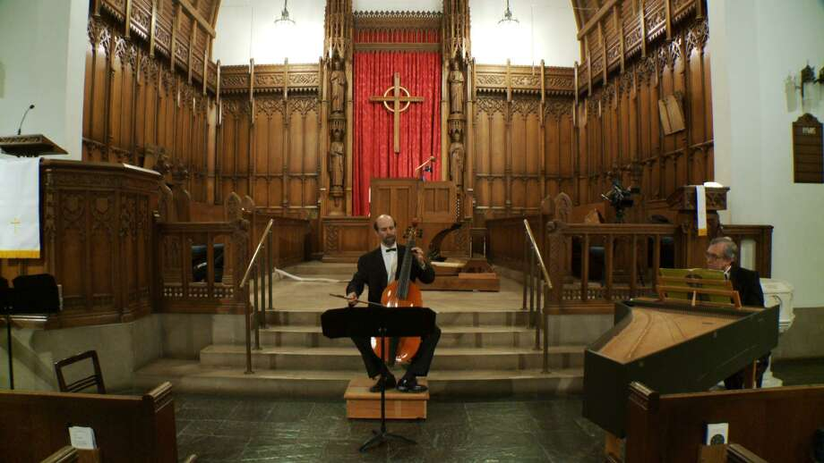 Andre O'Neil playing viola da gamba with Alfred Fedak on harpsichord in Westminster Presbyterian Church. (Courtesy of Capitol Chamber Artists)