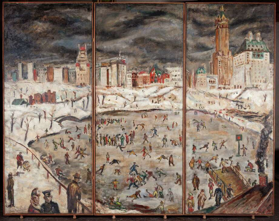 "Eugene Ludins' ""Skating in Central Park,"" 1928, oil on canvas. (Courtesy of the Estate of Eugene Ludins)"