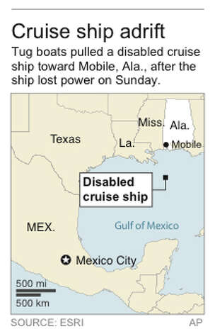 Map locates position of disabled cruise ship Photo: AP