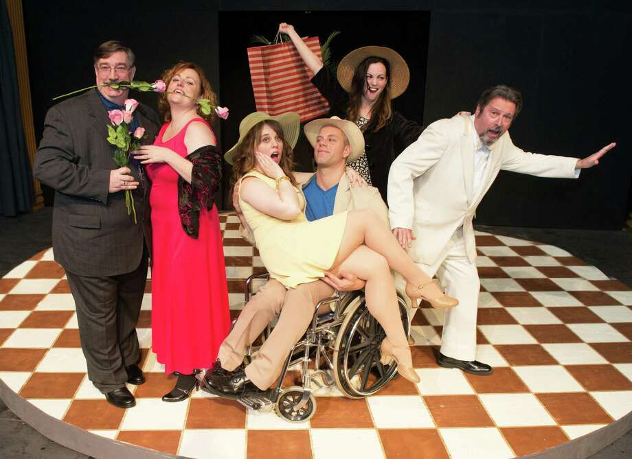 "Norman Eick, Mary Darcy, Heather Liz-Copps, Joel Bramer, Brittany Glenn and Steve Leifer in Schenectady Light Opera Company's production of ""Dirty Rotten Scoundrels"" from February 8-10 and 14-17, 2013. (Courtesy SLOC)"