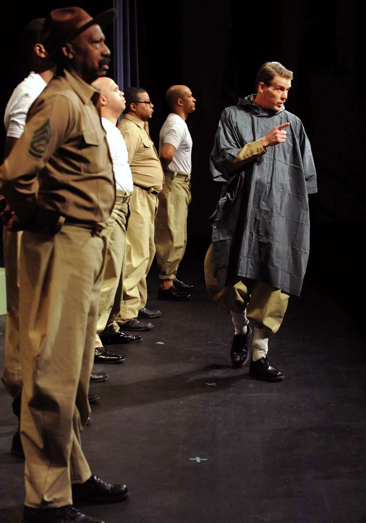 """Actors rehearse for """"Camp Logan,"""" a World War I military drama based on the 1917 Houston Riot between black soldiers and local police, at SCCC on Wednesday Feb. 6, 2013 in Schenectady, N.Y. .(Michael P. Farrell/Times Union)"""