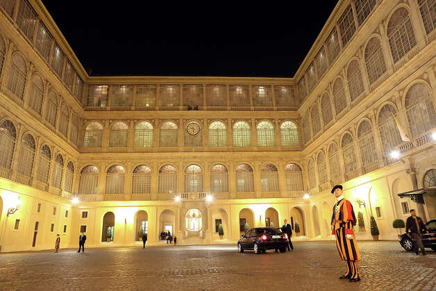 A general view of the Cortile di San Damaso during the courtesy visits to the new appointed cardinals at the Apostolic Palace on November 24,  2012 in Vatican City, Vatican. Pope Sixtus V (1585- 1590) built the Apostolic Palace where the present pope lives and where every Sunday at noon he stands at the window, and blesses the crowd that gathers in the magnificent St. Peter's square. Photo: Franco Origlia, Getty Images / 2013 Franco Origlia