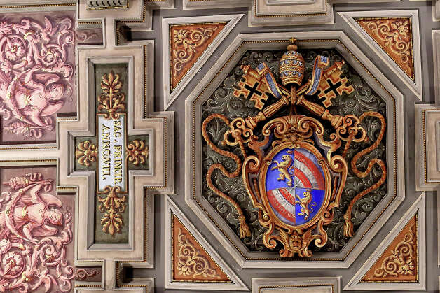 Detail of the ceiling is seen at the  Apostolic Palace on November 24,  2012 in Vatican City, Vatican. Pope Sixtus V (1585- 1590) built the Apostolic Palace where the present pope lives and where every Sunday at noon he stands at the window, and blesses the crowd that gathers in the magnificent St. Peter's square. Photo: Franco Origlia, Getty Images / 2013 Franco Origlia