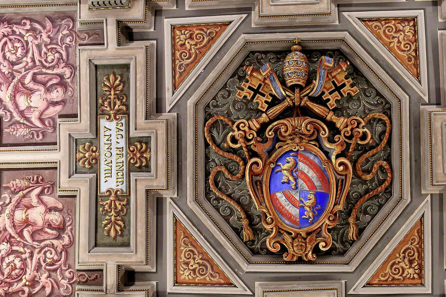 Detail of the ceiling is seen at the  Apostolic Palace on November 24,  2012 in Vatican City, Vatica