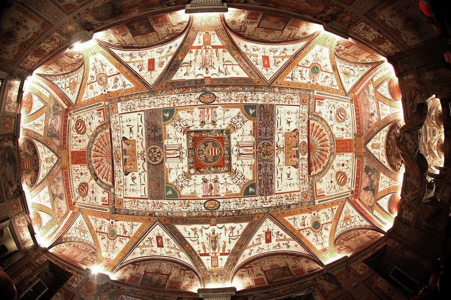 The ceiling of the Ducale Hall is seen at the Apostolic Palace on November 24,  2012 in Vatican City