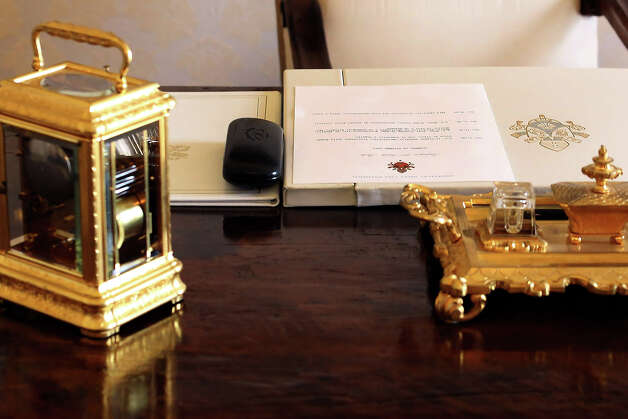 Pope Benedict XVI writing-table of his studio at the Apostolic Palace on October 25,  2012 in Vatican City, Vatican. Pope Sixtus V (1585- 1590) built the Apostolic Palace where the present pope lives and where every Sunday at noon he stands at the window, and blesses the crowd that gathers in the magnificent St. Peter's square. Photo: Franco Origlia, Getty Images / 2013 Franco Origlia
