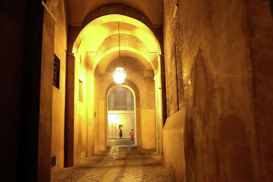 A view of the arc to the Cortile di San Damaso during the courtesy visits to the new appointed cardi