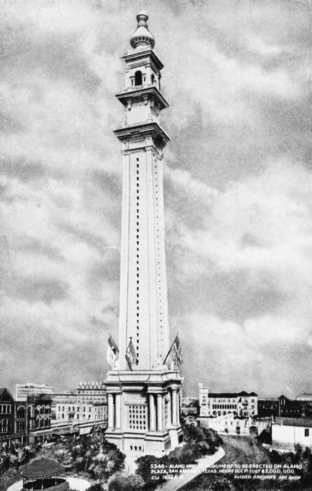 In 1912, the Alamo Heroes Monument Association had an architectural drawing prepared to use in the fund-raising process for a proposed 802-foot-tall monument. It would have been the tallest manmade object in the nation and the second-highest in the world at the time, after the Eiffel Tower. The association was unable to raise enough money.