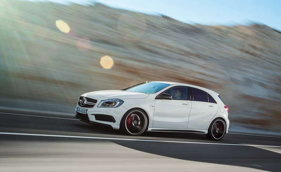 Mercedes introduced its newest hatchback, the A45 AMG. The car has a 2.0-litre turbocharged engin