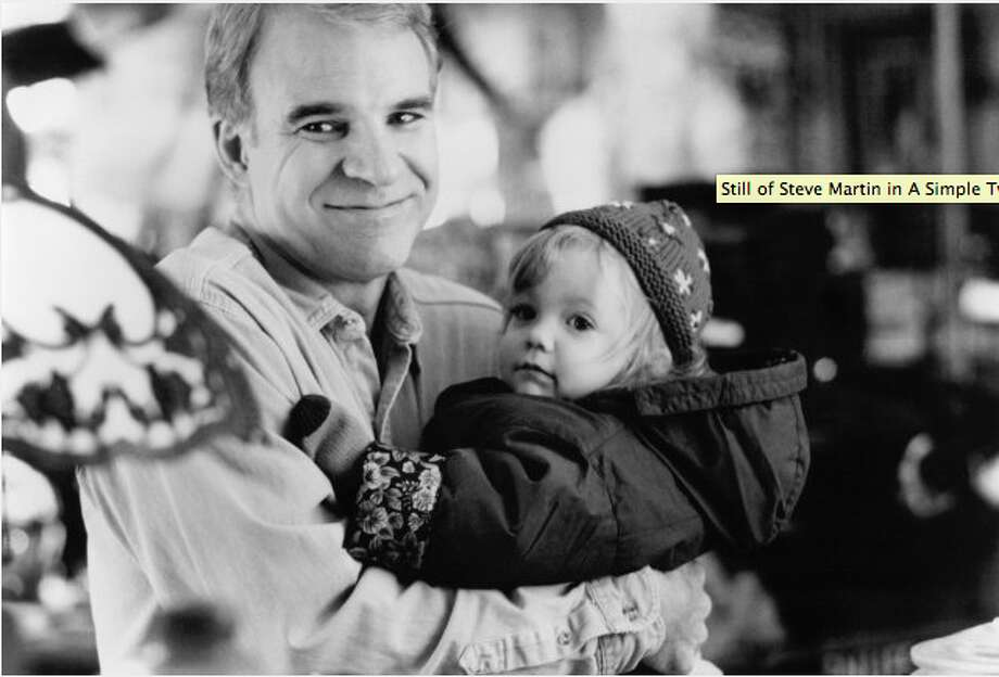 In a Simple Twist of Fate (1994), Steve Martin plays high school music teacher Michael McCann, who is startled when he finds that a toddler wanders into his home. He eventually ends up adopting her.