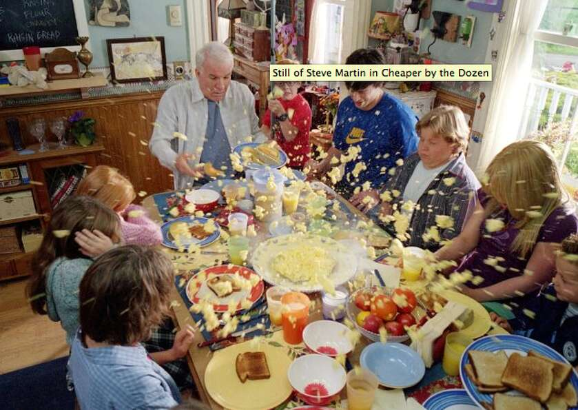 As a father of 12, Steve Martin's life is messy in Cheaper by the Dozen (2003)