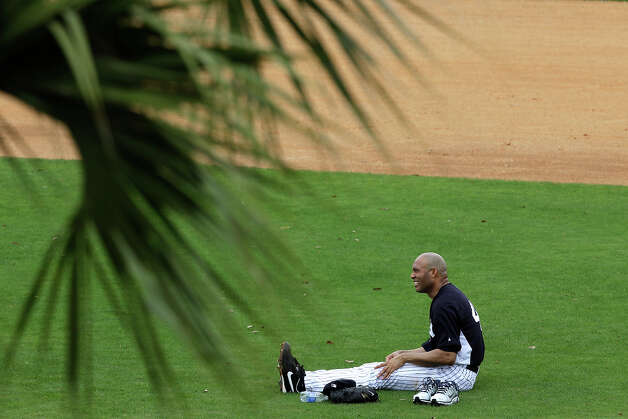 New York Yankees' Mariano Rivera stretches after a workout at baseball spring training, Wednesday, Feb. 13, 2013, in Tampa, Fla. (AP Photo/Matt Slocum) Photo: Matt Slocum, ASSOCIATED PRESS / AP2013