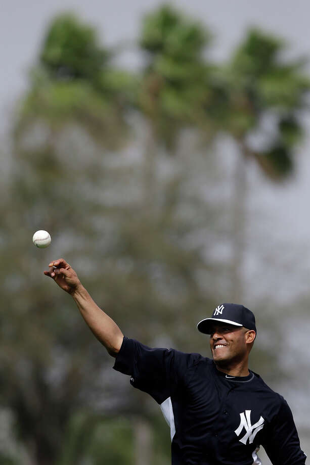 New York Yankees' Mariano Rivera throws to home during a workout at baseball spring training, Wednesday, Feb. 13, 2013, in Tampa, Fla. Photo: Matt Slocum, AP / AP