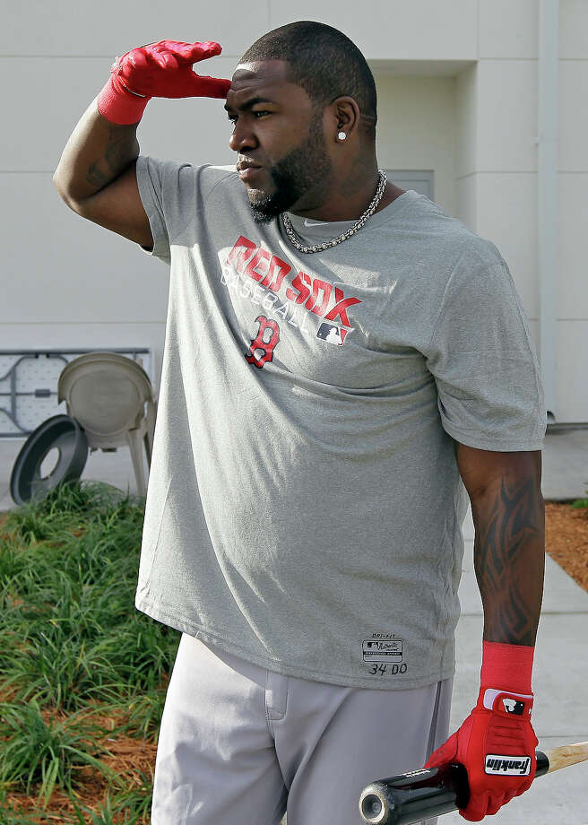 Boston Red Sox designated hitter David Ortiz shields his eyes from the sun as he makes his way to the batting cages during a spring training workout Wednesday, Feb. 13, 2013, in Fort Myers, Fla. Photo: Chris O'Meara, AP / AP