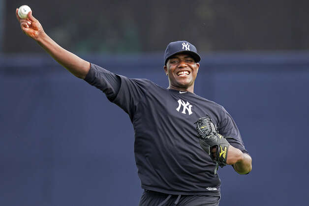 New York Yankees pitcher Michael Pineda throws during baseball spring training at George M. Steinbrenner Field Tuesday, Feb. 12, 2013, in Tampa, Fla. (AP Photo/Scott Iskowitz) Photo: Scott Iskowitz, ASSOCIATED PRESS / AP2013