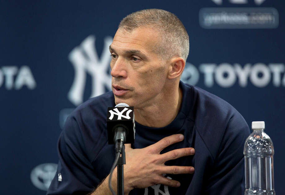 New York Yankees manager Joe Girardi speaks to the media at during baseball spring training at George M. Steinbrenner Field Tuesday, Feb. 12, 2013, in Tampa, Fla.  (AP Photo/Scott Iskowitz) Photo: Scott Iskowitz, ASSOCIATED PRESS / AP2013