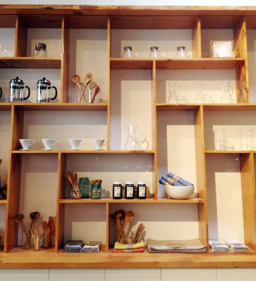 Custom shelves line one wall.