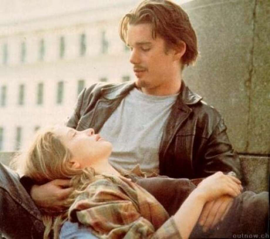 Jesse (Ethan Hawke) and Celine (Julie Delpy) in Before Sunrise: The young couple in this 1985 film meet on a train in Europe and instantly recognize one another as soul mates. They get off in Vienna, where they spend a night walking around the city and getting to know one another.