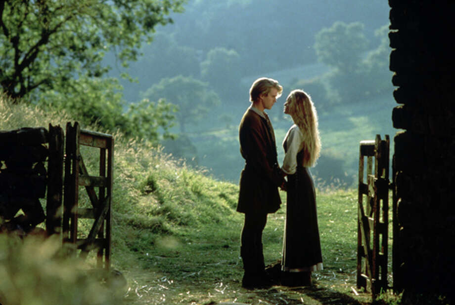 Westley (Cary Elwes) and Buttercup (Robin Wright) in the Princess Bride: The lovers in this 1987 fairytale romance initially seem star-crossed but in the end they share a passionate kiss and live happily ever after.