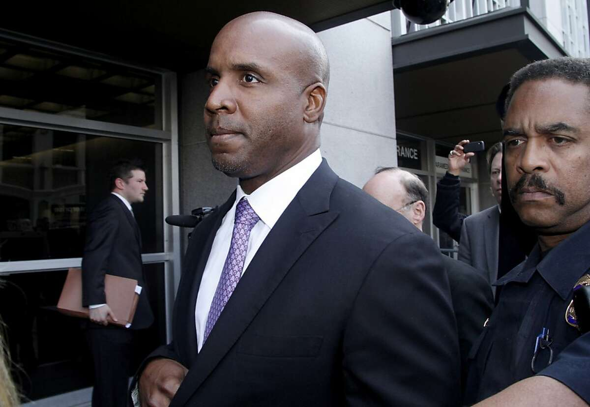 FILE - In this Wednesday, April 13, 2011 file photo, former baseball player Barry Bonds leaves federal court in San Francisco, after being found guilty of one count of obstruction of justice. Bonds' appeal of his obstruction of justice conviction is scheduled to be heard by a three judge panel of the 9th U.S. Circuit Court of Appeals, Wednesday, Feb. 13, 2013. (AP Photo/George Nikitin, File)