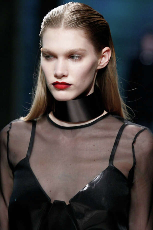 Collar or necklace? Kenneth Cole Collection Fall 2013. Photo: Peter Michael Dills, AP/Getty / 2013 Getty Images